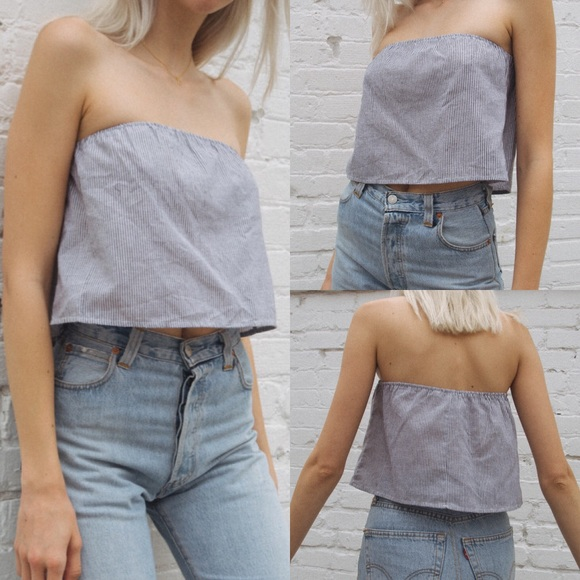 Brandy Melville white //blue cropped cotton Cassidy tube top NWT sz XS//S